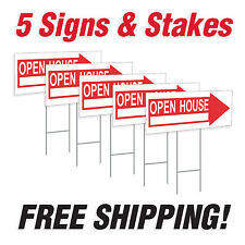 """5 - 10"""" x 24"""" Open House Directional Signs Corrugated Plastic + FREE Stakes"""