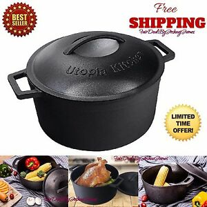 5 Qt Cast Iron Dutch Oven Pre-Seasoned Cookware Kitchen Pot Lid Home Camping New
