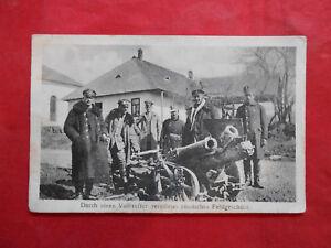 Postkarte-Feldpost-Durch-einen-Volltreffer-zerstoertes-Russisches-Feldgeschuetz