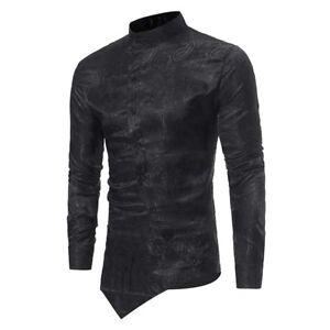 New-Men-039-s-Slim-Fit-Irregular-Long-Sleeve-Tee-T-shirt-Black-Tops-Blouse