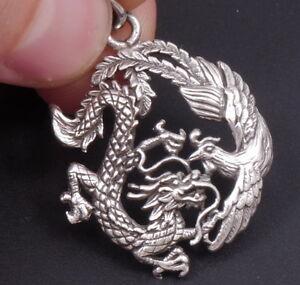 Artisan dragon phoenix bird luck charm 925 sterling silver mens image is loading artisan dragon phoenix bird luck charm 925 sterling mozeypictures Gallery
