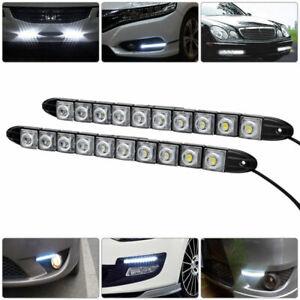 2x-12v-10LED-Flessibile-per-auto-diurne-led-striscia-bianche-fari-lampadine