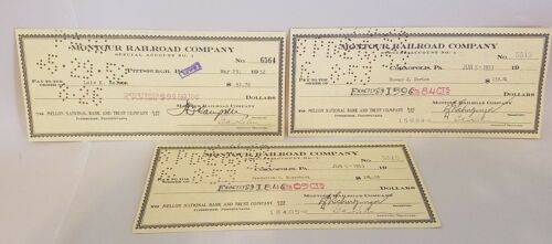 MONTOUR RAILROAD COMPANY Cancelled  1950/'s PAYROLL CHECK Vintage RR Memorabilia