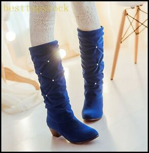 New Fashion Womens Faux Suede Rhinestone Shiny Knee High Boots Party Dress Shoes