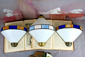 Set-of-3-Art-deco-1970-039-s-Metal-plexiglass-Coloured-Sconces-wall-lights-French