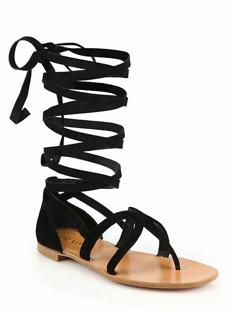 Prada Women's Black Suede Leather Wrap Around Gladiator Sandals shoes Sz 37  690