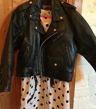 Skin Vtg Skinny Black Leather Cropped Motorcycle Biker Moto Jacket 8 10 S US 4 6
