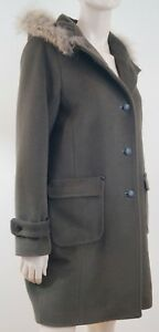 caf50f58717c5 GERARD DAREL Ladies Khaki Wool Angora Fur Trim Hooded Winter Coat Sz ...