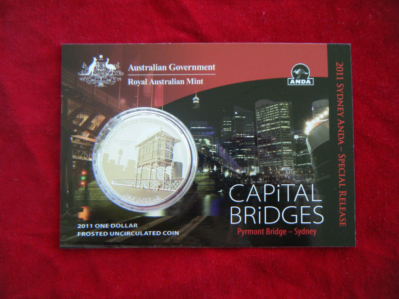 2011 CAPITAL BRIDGES PYRMONT BRIDGE Silver Coin on Card ANDA Release