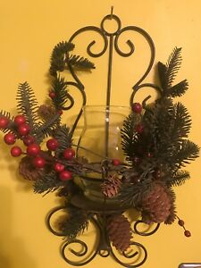 Kirklands Christmas.Details About Kirklands Christmas Woodland Berry Hanging Iron Candle Holder Sconce