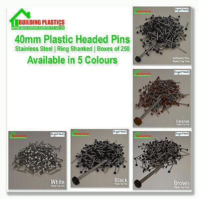 UPVC FASCIA SOFFIT CLADDING PLASTIC HEADED TOP STEEL NAILS PINS  PLASTOP WHITE