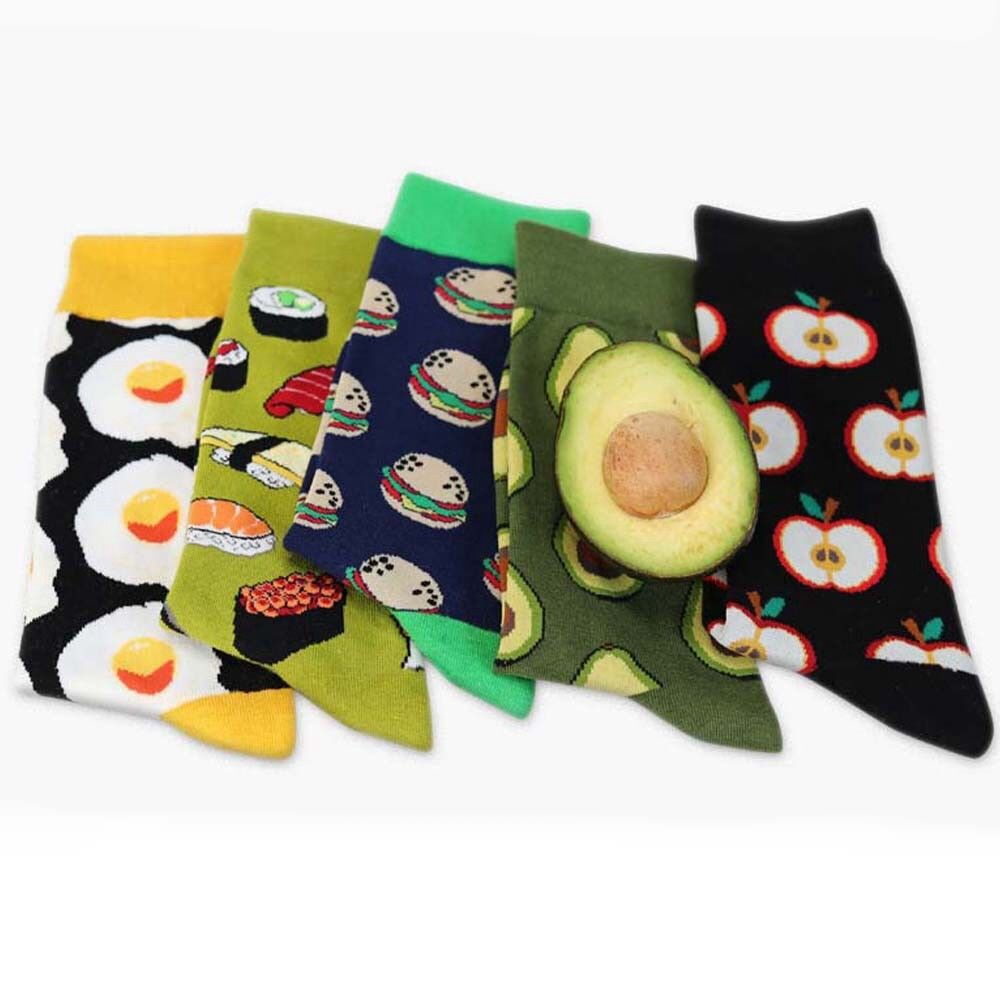Women Avocado Omelette Burger Sushi Apple Fruit Food Socks Funny Cotton SOX Gift