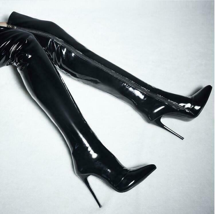 Sexy Women Patent Leather Pointy Toe Knee High Boots Stiletto Clubwear Zip shoes