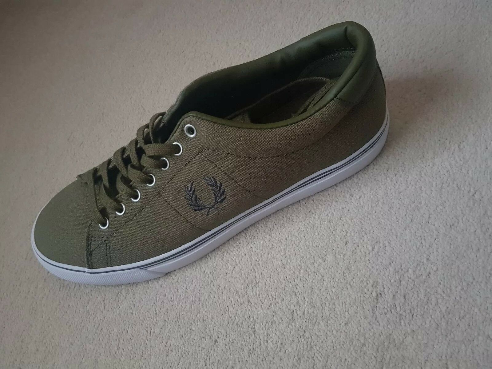 Fred Perry men's casual canvas shoes - khaki, size 8 uk.