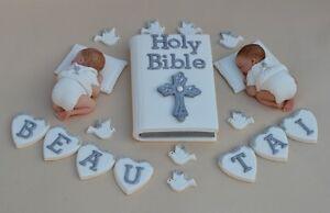 edible twin baby christening baptism cake topper bible cake