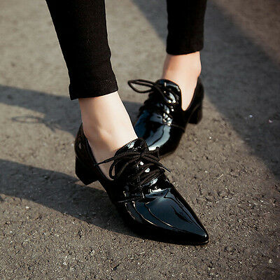 Womens Lace Up Point Toe Block Low Heel Shoes Pumps Brogue Casual Patent Leather