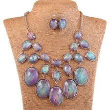 Abalone Purple Shell Oval Bead Bib Bubble Statement Necklace Earrings Set