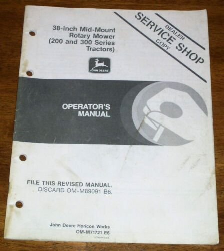 "JOHN DEERE 38/"" MIDMOUNT MOWER 200 300 OPERATORS MANUAL"