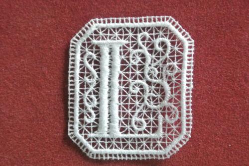 Letra inicial L//Oblongo Encaje motivo-Apliques//coser en recortar//artesanía//elaboración de tarjetas