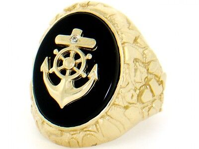 10k or 14k Solid Gold Nugget Anchor Onyx Exra Large Mens Ring
