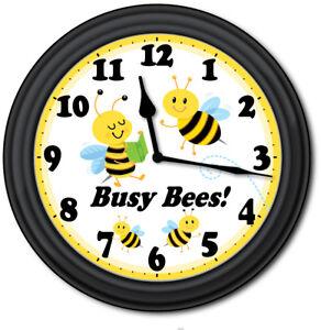 Bumble-Bees-WALL-CLOCK-Classroom-Teacher-School-Preschool-Kids-Playroom-GIFT