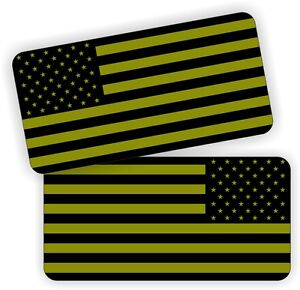 OD Green American Flags / Stealthy Hard Hat Decals / Olive Drab Helmet Stickers