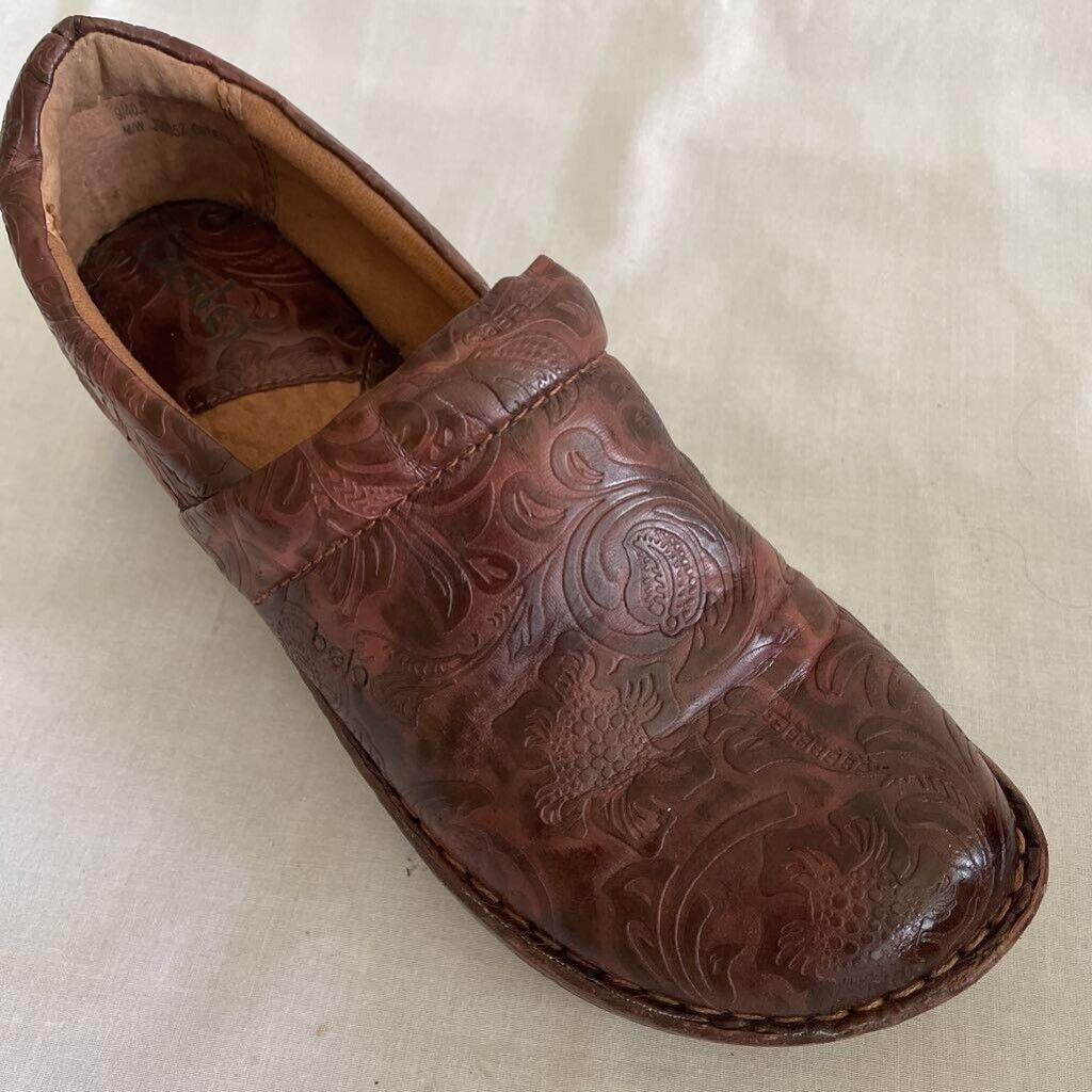 Bolo By Born Womens Andrea Clogs Shoes Brown Paisley Slip On Wedge Heel 9M
