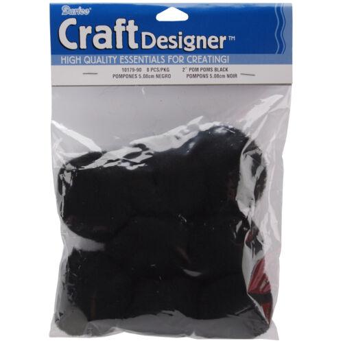 Darice Acrylic Pom Poms Black 2 Inches
