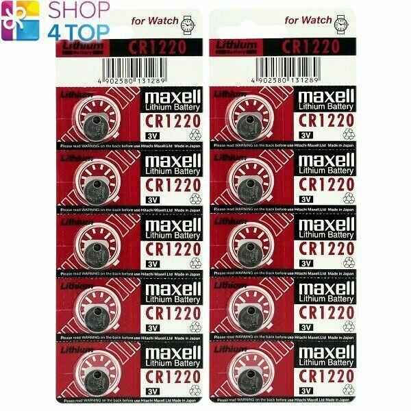 10 Maxell CR1220 Batteries Lithium 3V Coin Cell ECR1220 Exp 2028 New