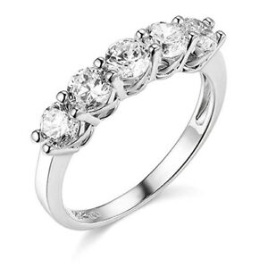 2 Ct Round Cut Real 14k White Gold 5-Stone Trellis Wedding Anniversary Band Ring