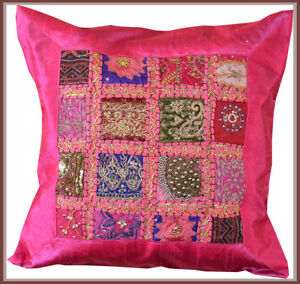 Hand-Crafted-Tribal-Silk-Patch-Work-Hot-Pink-Pillow-Cover-Cushion-Cover-India