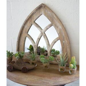 Arched Windowpane Mirror Short Church Cathedral Mirror