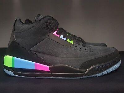 7334a12af35403 Nike Air Jordan 3 Retro Quai 54 Black Size 8.5 9.5 Q54