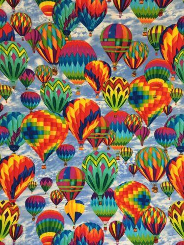 Tissu de Coton Fat Quarter Quilting Timeless Treasure ballons à air chaud coloré
