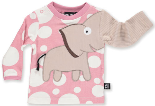 Ubang manica lunga Top Camica Shirt Elefante Rosa Bianco Puntini 74 80 110