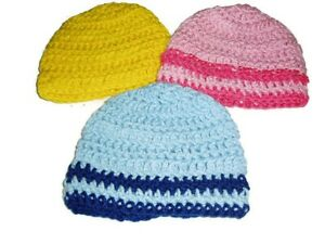 Lot of 3 Crochet Mesh style Hats 3 to 6 Months Blue Pink Yellow Handmade