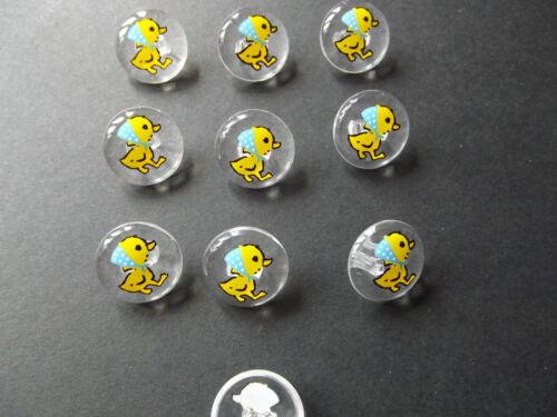 bébés 10 x clair avec boutons Motif Canard Jaune ~ Taille 24L Craft 15mm