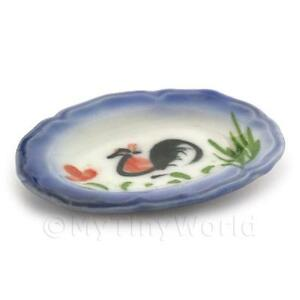 3x Dolls House White 37mm X 48mm Ceramic Cockerel Plate With Blue Edges