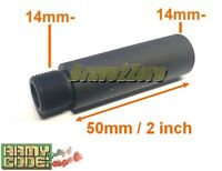 50mm / 2 Inch Barrel Extension Adapter For Airsoft Aeg Gbb (14mm Ccw Thread)