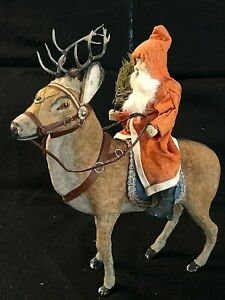 LARGE-GERMAN-SANTA-RIDING-CANDY-CONTAINER-REINDEER-VINTAGE-CHRISTMAS