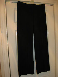 LADIES-SIZE-12-BLACK-PIN-STRIPE-VERY-FAINT-BOOTCUT-STYLE-SMART-TROUSERS