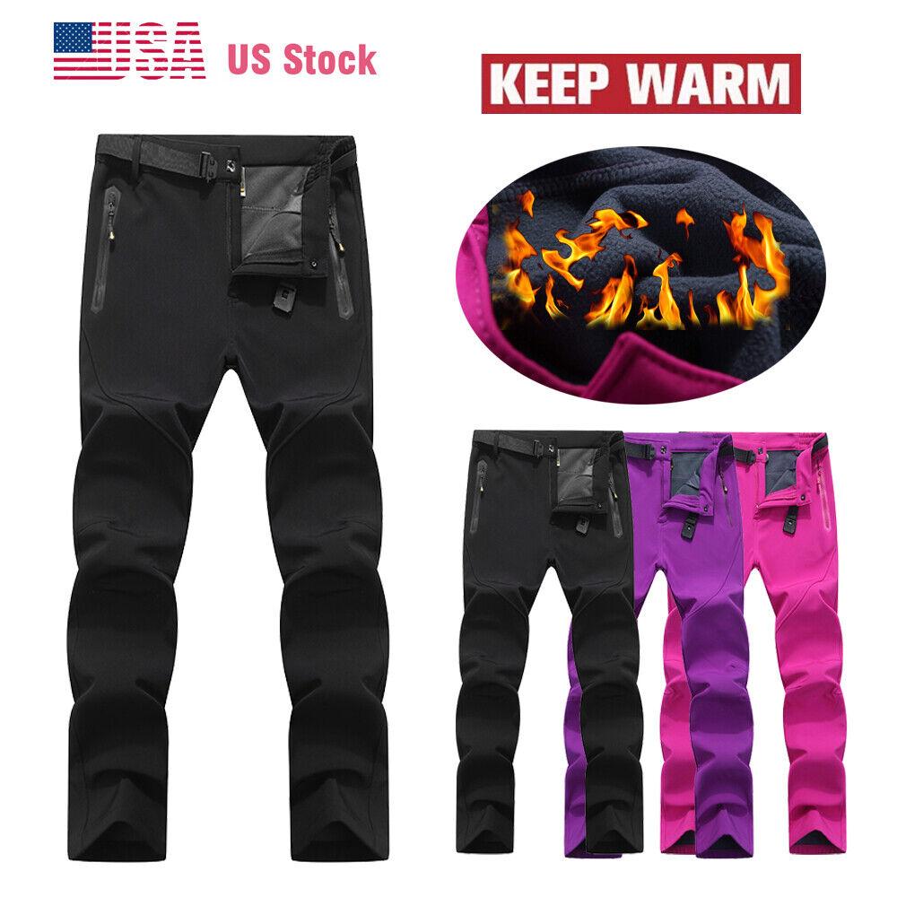 Womens Fleece Lined Waterproof Hiking Snow Ski Pants Windproof Warm Outdoor Pant