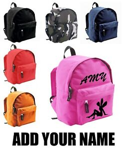 30057dc74209 Image is loading Personalised-Kids-Backpack-Any-Name-FAIRY-Text-Girls-