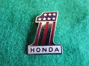 HONDA No 1 ENAMEL BADGE - WHITE. Stars and Stripes. US. ONE NEW OLD STOCK