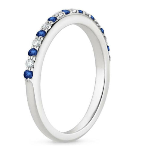 0.30 Ct Real Blue Sapphire Ring 14K White Gold Genuine Diamond Band Size 5 6 7 8