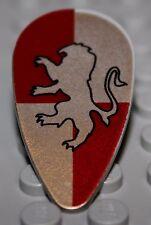 LeGo Castle Light Gray Shield Ovoid w/ HP Gryffindor Pattern Golden Lion