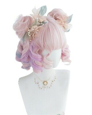 """Lolita 12/"""" Pink Mixed Blue Ombre Short Curly Hair Women Bang Party Cosplay Wig"""