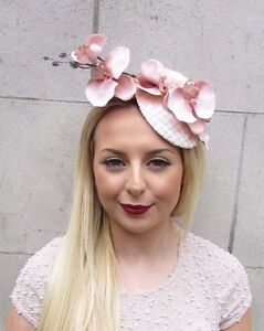 Image is loading Blush-Pink-Light-Peach-Nude-Orchid-Flower-Fascinator- deff63cea82