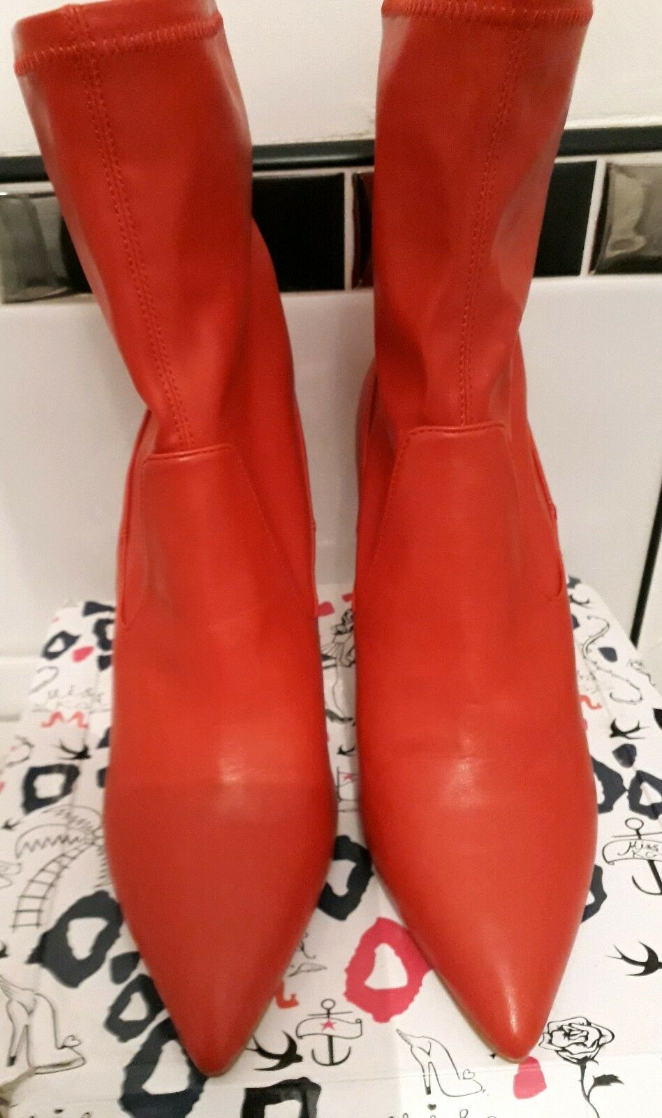 Faith Red Faux Leather Tacco A Stiletto Stivali EU 40