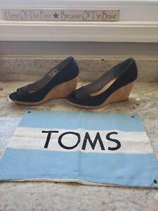 TOMS Womens Heels SHOES Black Canvas Cork Wedge Peep Toe Size 9.5